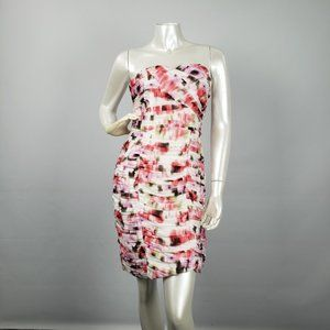 H&M Pink & White Ruched Dress Size 8